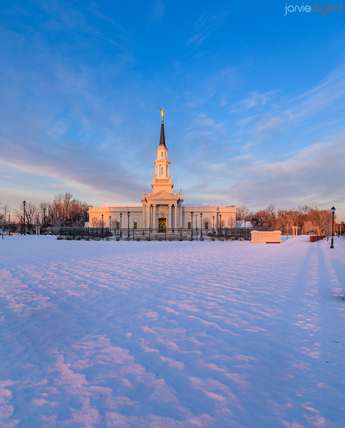 Connecticut LDS Temple - light across the snow