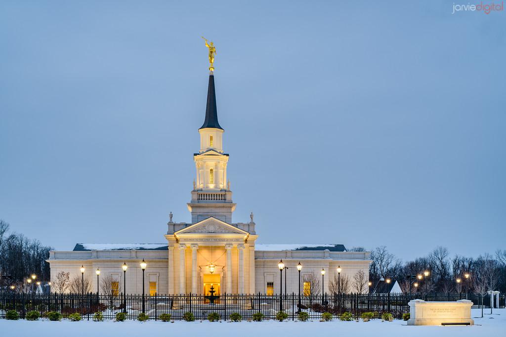 Connecticut LDS Temple - evening glow