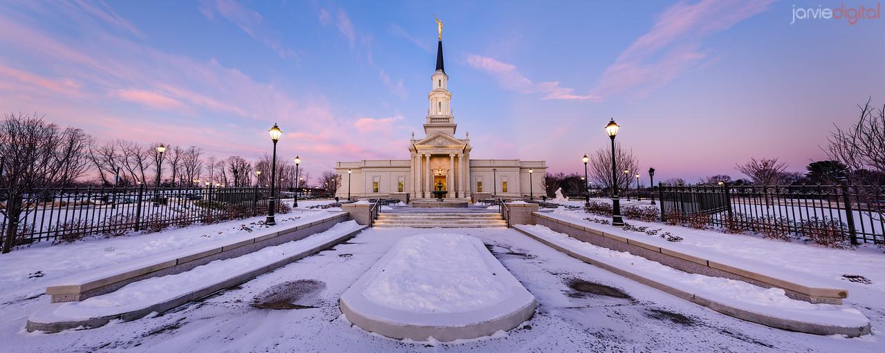 Connecticut LDS Temple - snowy courtyard