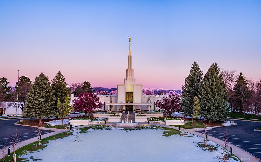 Denver LDS Temple - Spring Snow