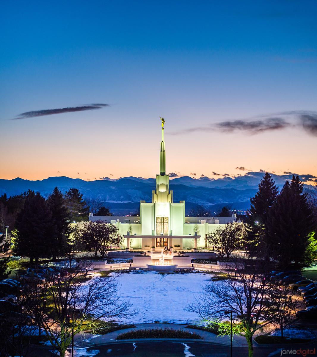 Denver Temple - Snowy Twilight