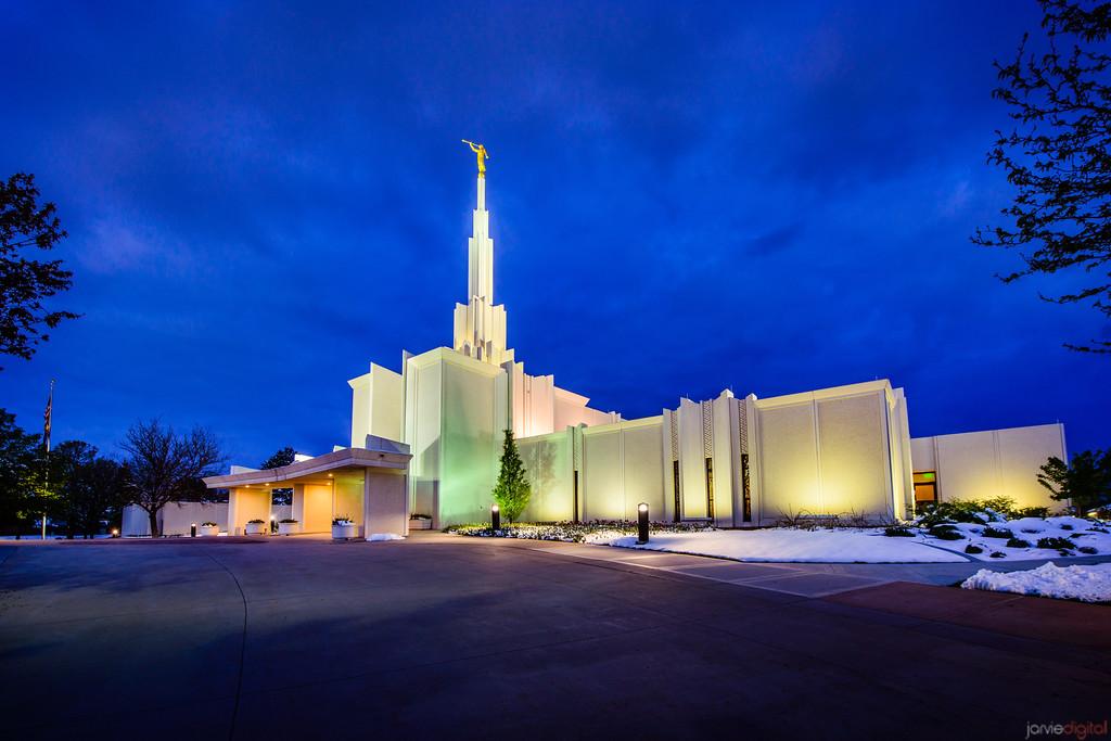 Denver Temple Rt Entrance Twilight