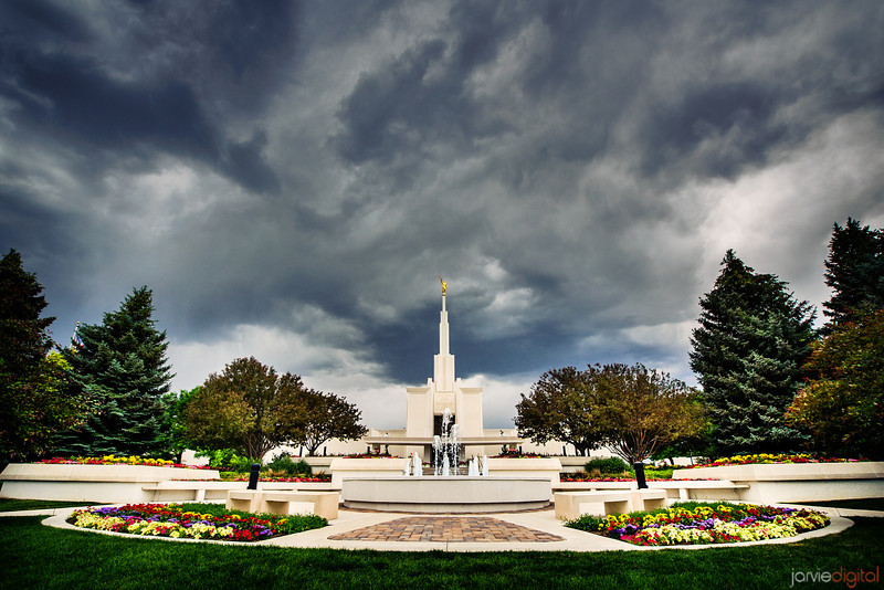 Denver Temple Stormy Skies