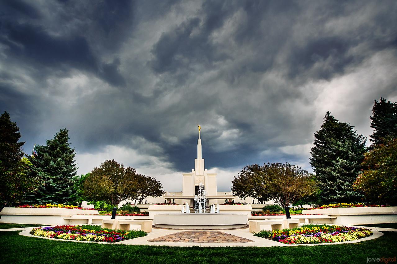 Denver Temple Stormy Skies