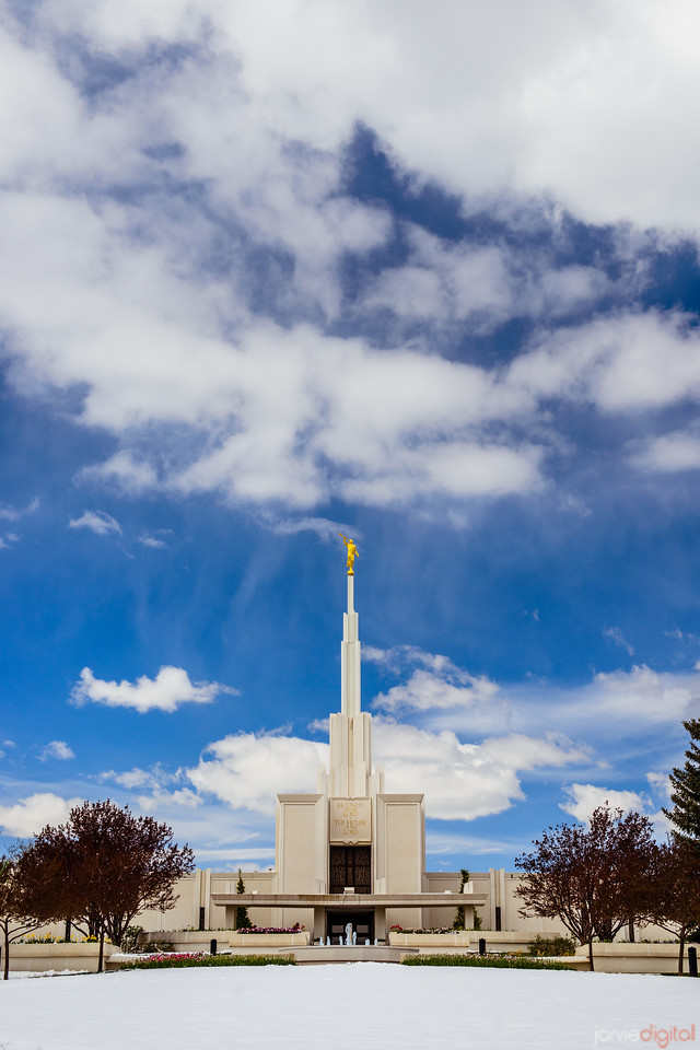 Denver Temple Front Blue Skies