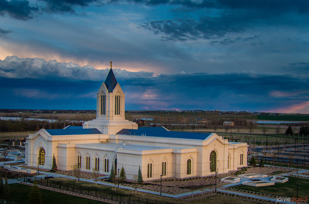 Fort Collins Temple - evening clouds