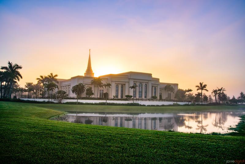 Ft Lauderdale Temple - Sunrise behind the temple