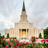 Houston Temple with Flowers - brighter