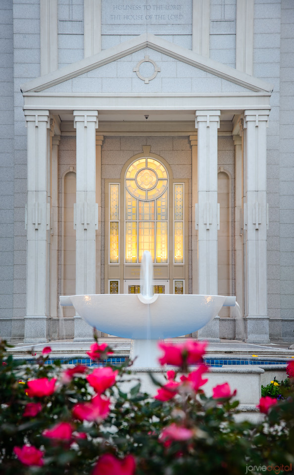 Houston Temple - Fountain and Entrance
