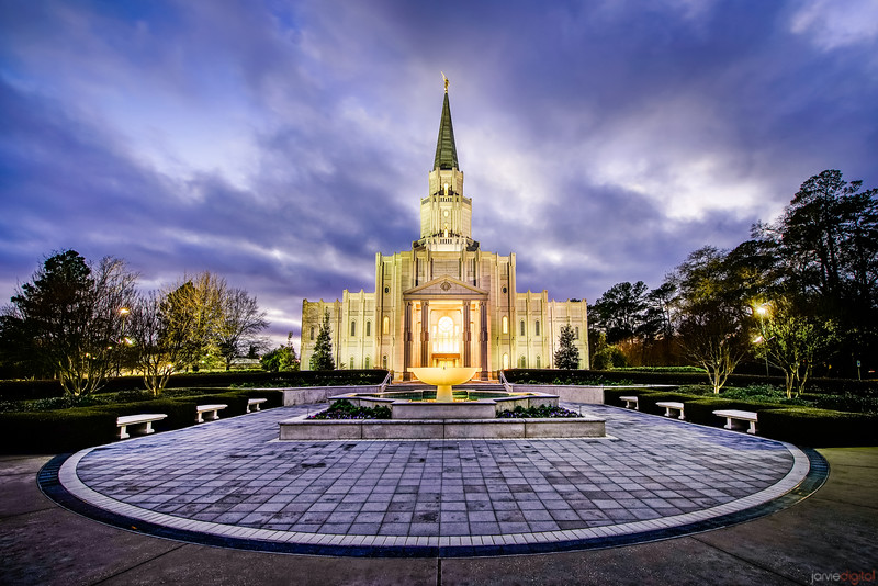 Houston LDS Temple at twilight