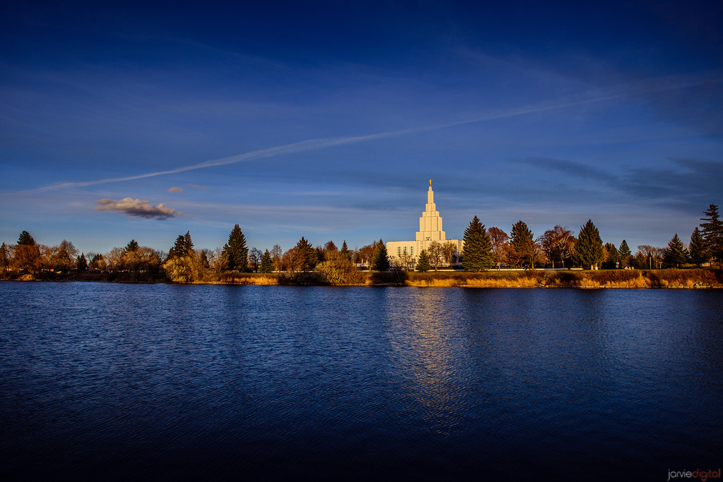 Idaho Falls Temple Sunset with River