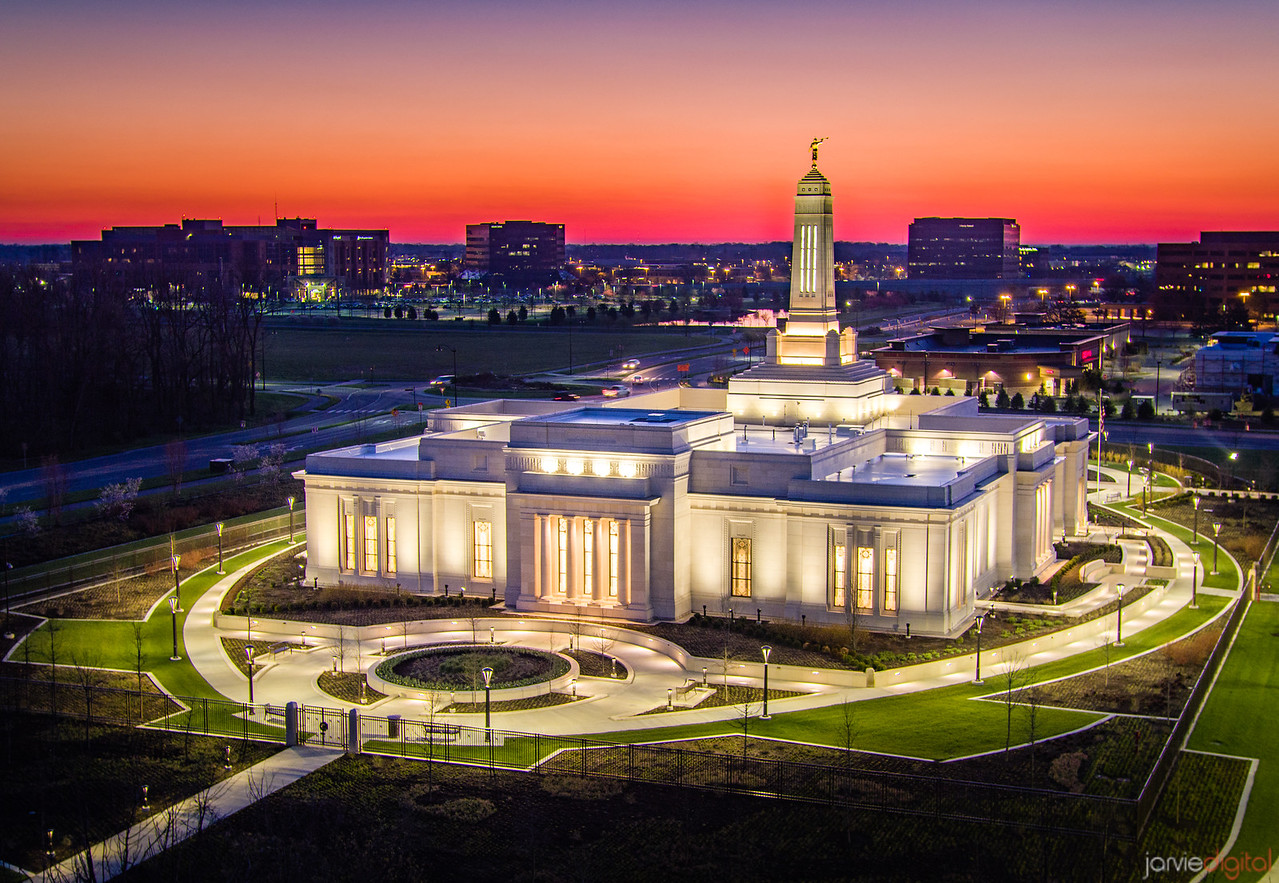 Indianapolis LDS Temple - Paint the sky red