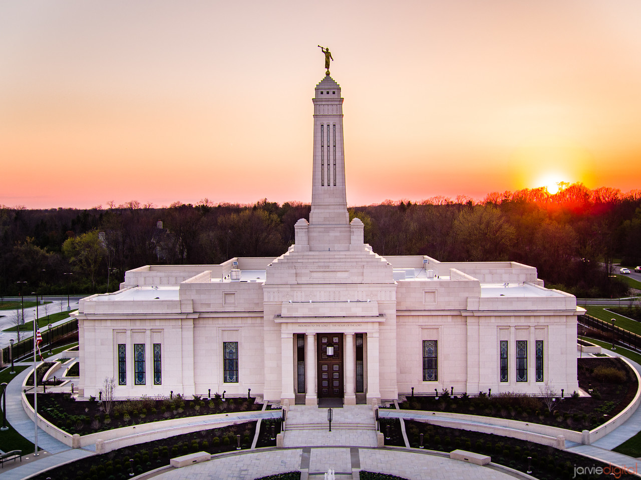 Indianapolis LDS Temple - The setting sun