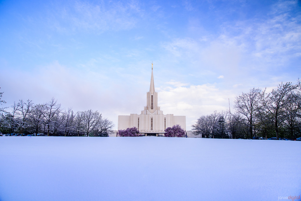 Spring Snow at Jordan River Temple