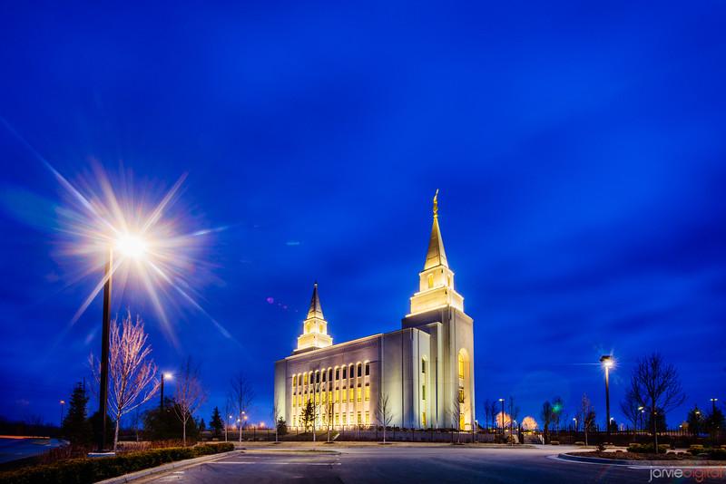 Kansas City Temple Twilight and Lamp