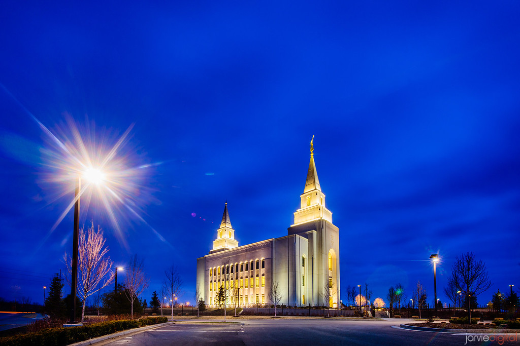 Kansas City Temple Twilight and Lamp