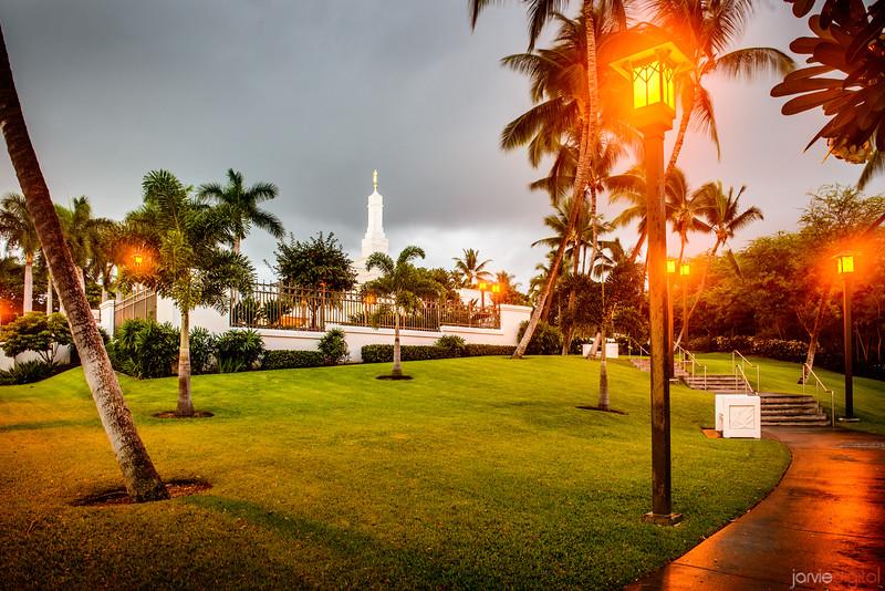 Kona Temple and lights