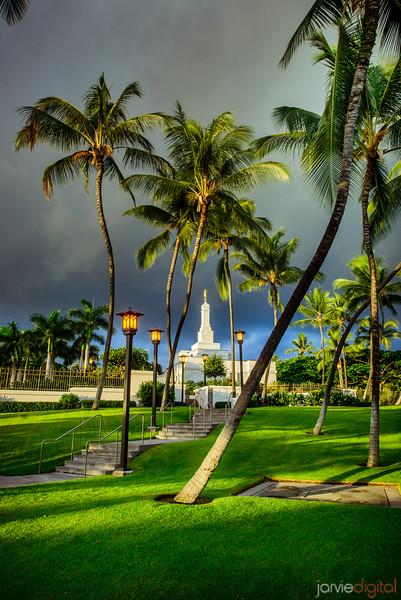 Kona Temple Through Trees
