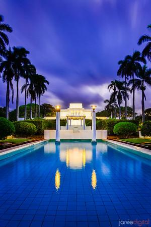 Laie Temple Reflection Blue