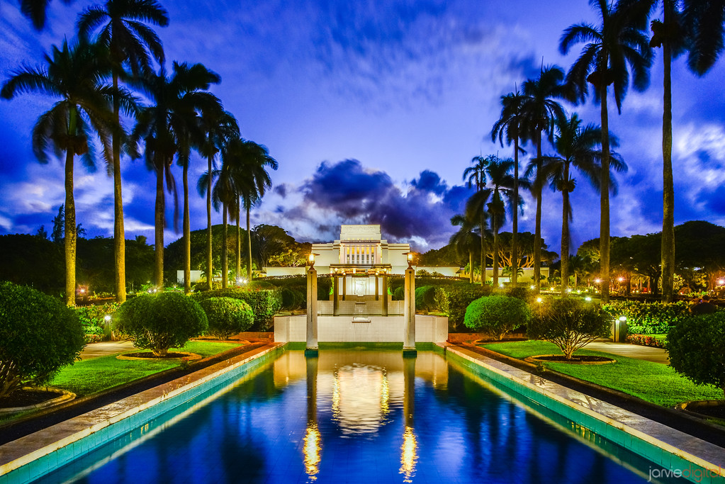 Laie Temple Twilight Reflection