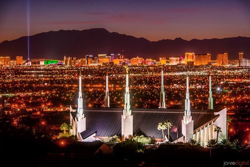 Las Vegas Temple Night (from the hill)