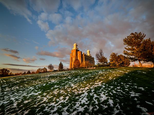 Logan Temple Melting Snow
