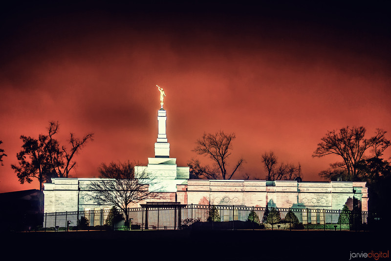 Baton Rouge Temple red night skies