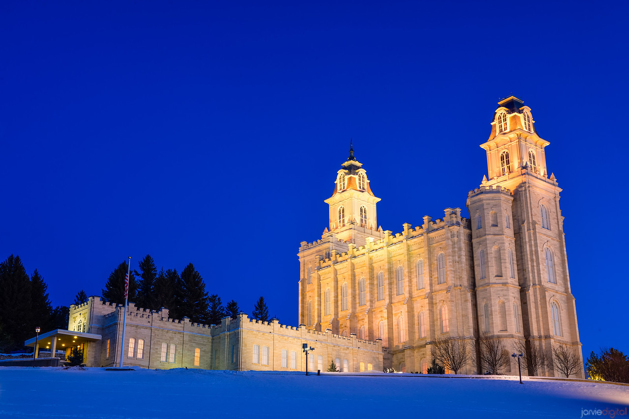 Manti Temple in the Snow (From accross the street)