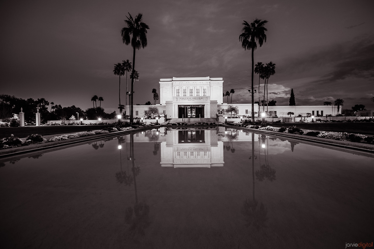 Mesa Temple BW Reflection