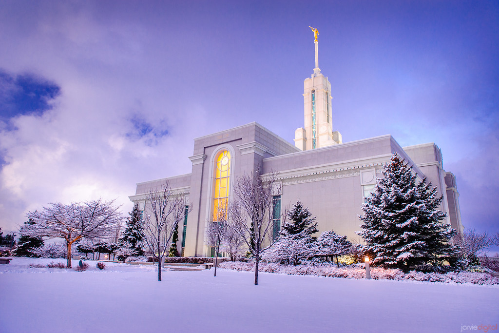 Mt Timpanogos Temple after snowstorm