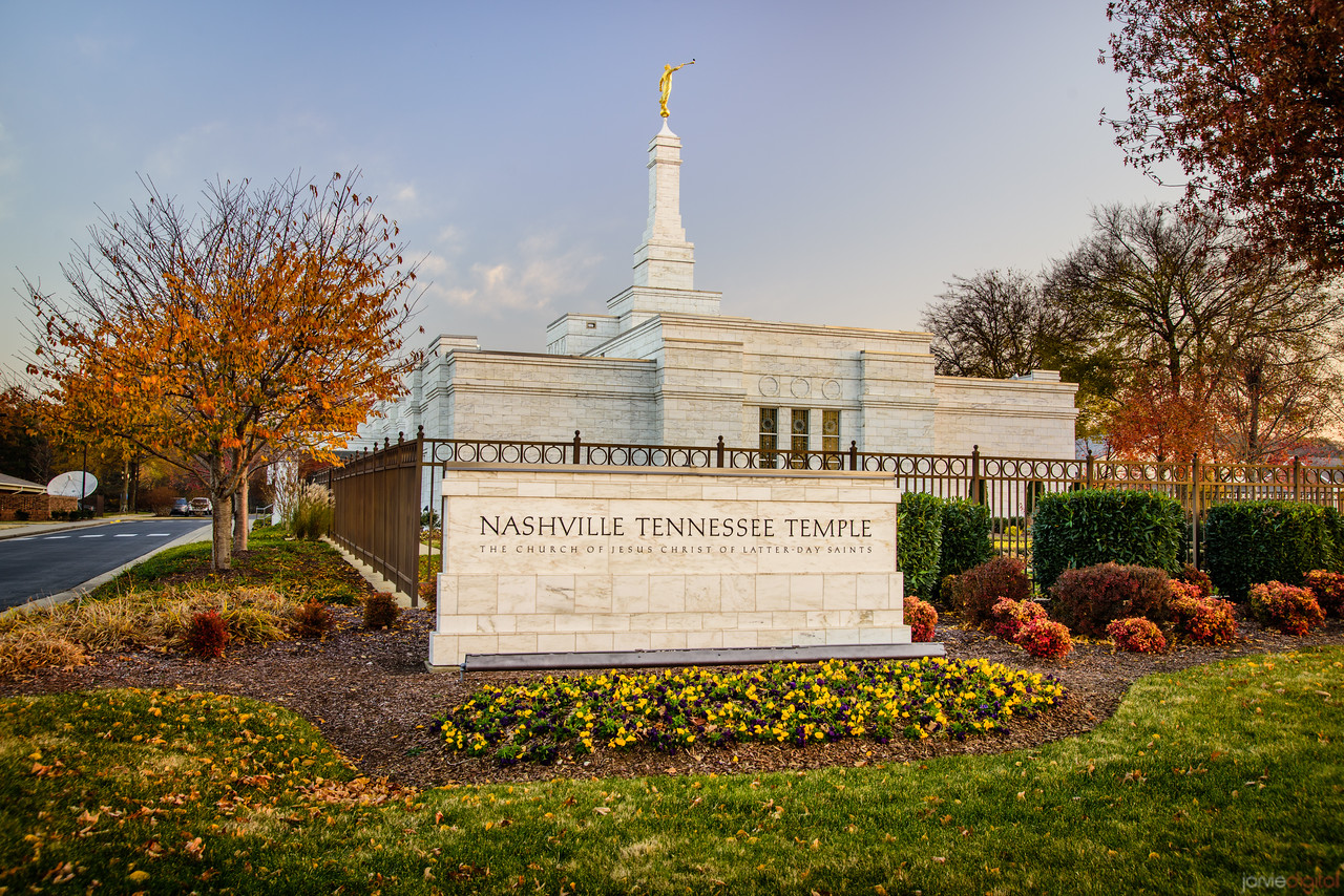 Nashville Temple - Sign in Fall