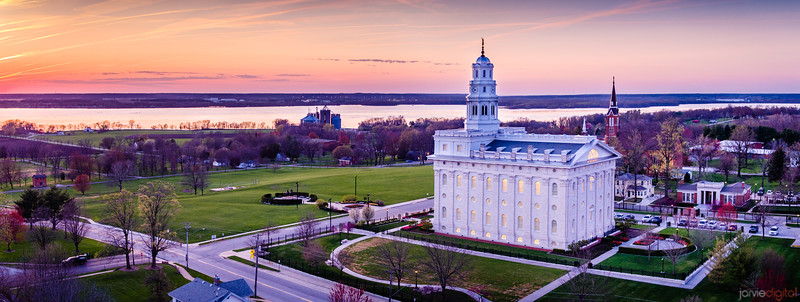 Nauvoo Temple - The mississippi sunset