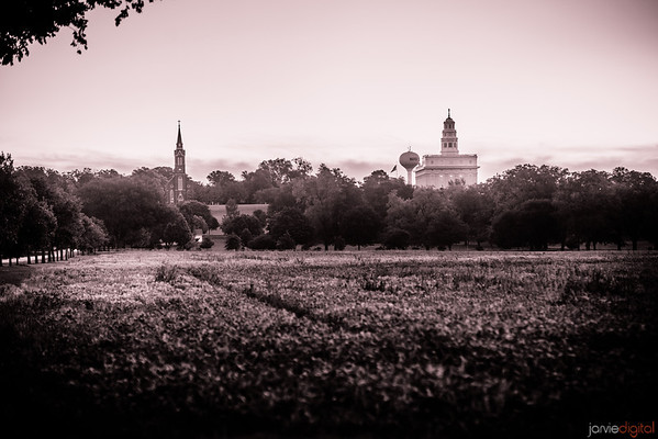 Nauvoo Temple Farmland B&W