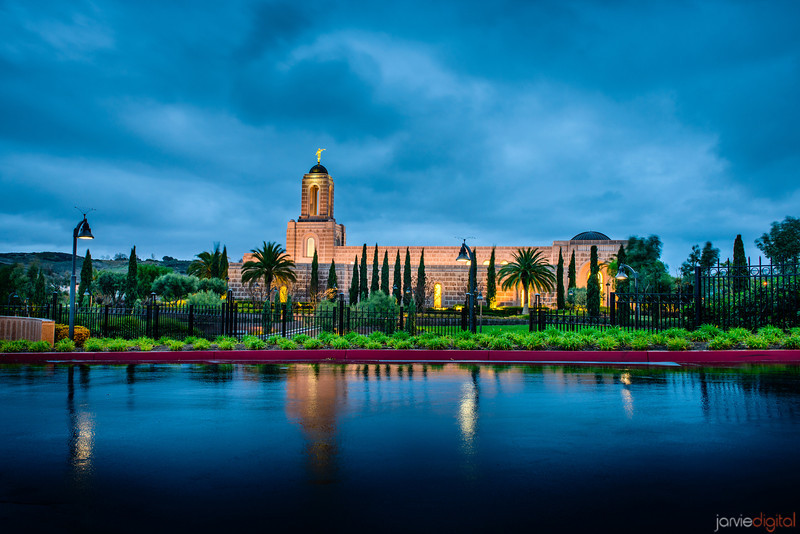 Newport Beach temple after morning rain storm