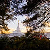 North Carolina Temple - Sunset through trees