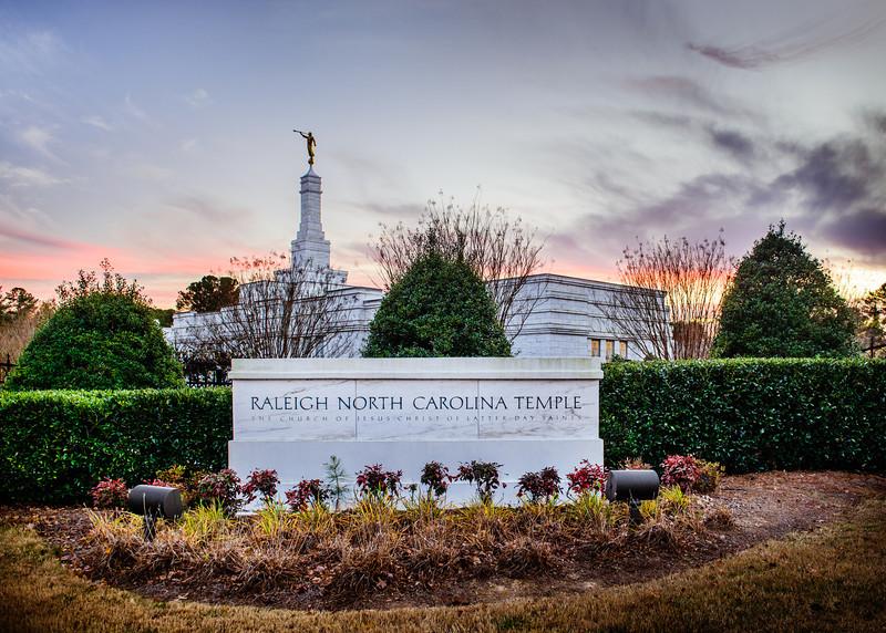 North Carolina Temple = Sunset Sign