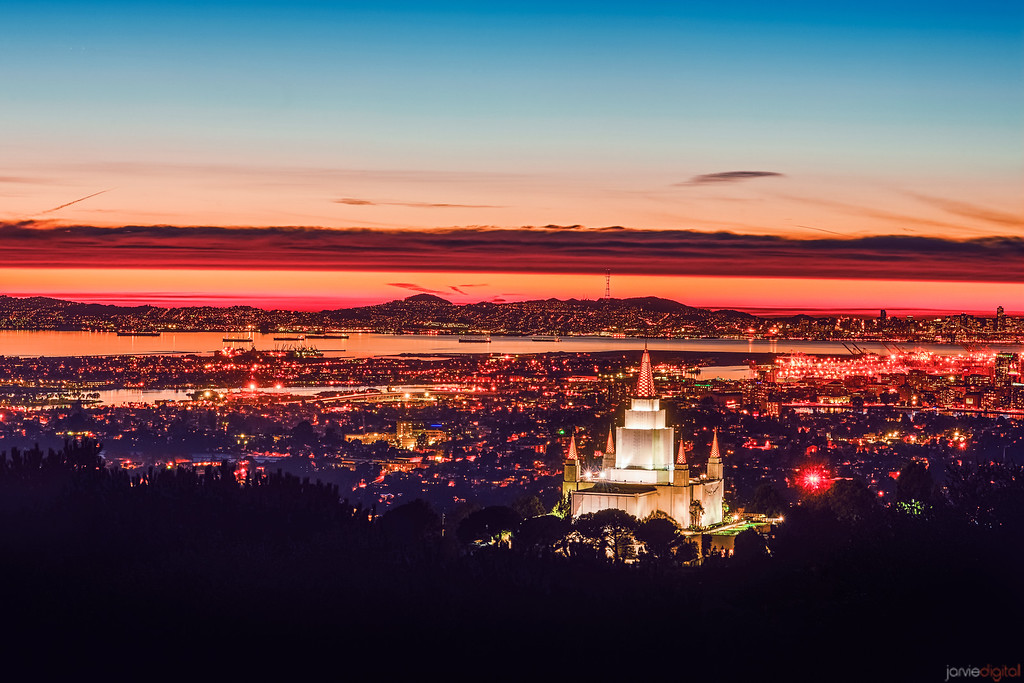 Oakland Temple Sunset (from the Hill)