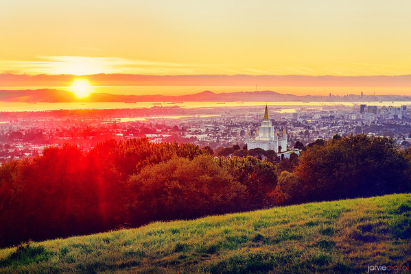 Oakland Temple Sun setting (from the Hill)