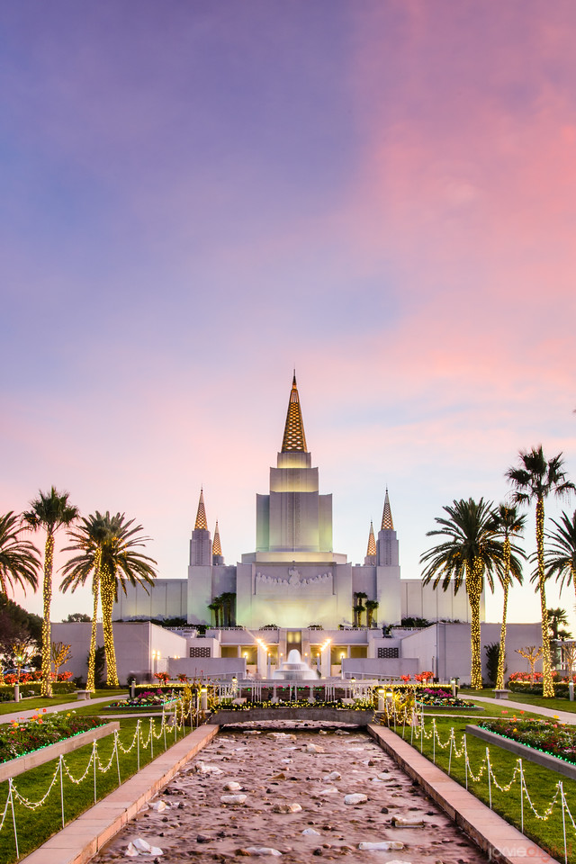 Oakland Temple Front Sunset