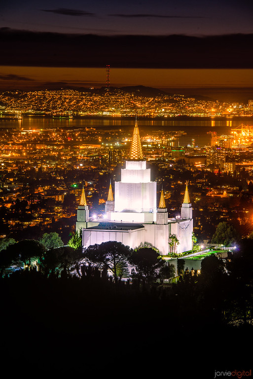 Oakland Temple Night Verticle (from the Hill)