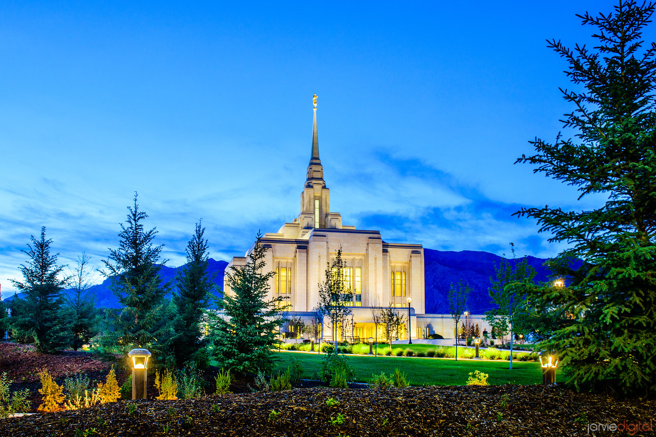 Ogden LDS Temple Twilight through trees