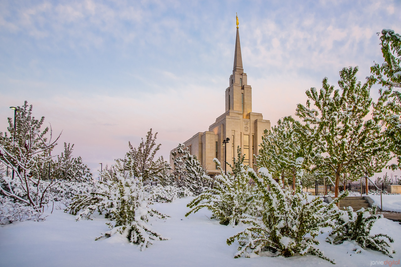 Spring Snow at Oquirrh Mountain Temple