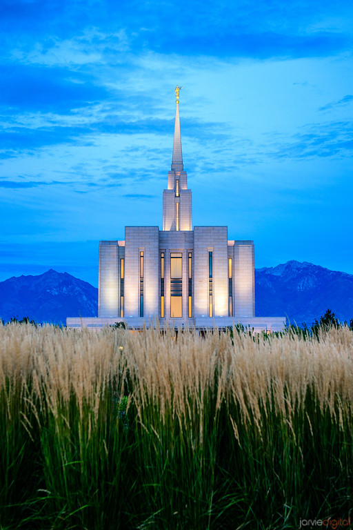 Oquirrh Mountain LDS Temple - Back Twilight