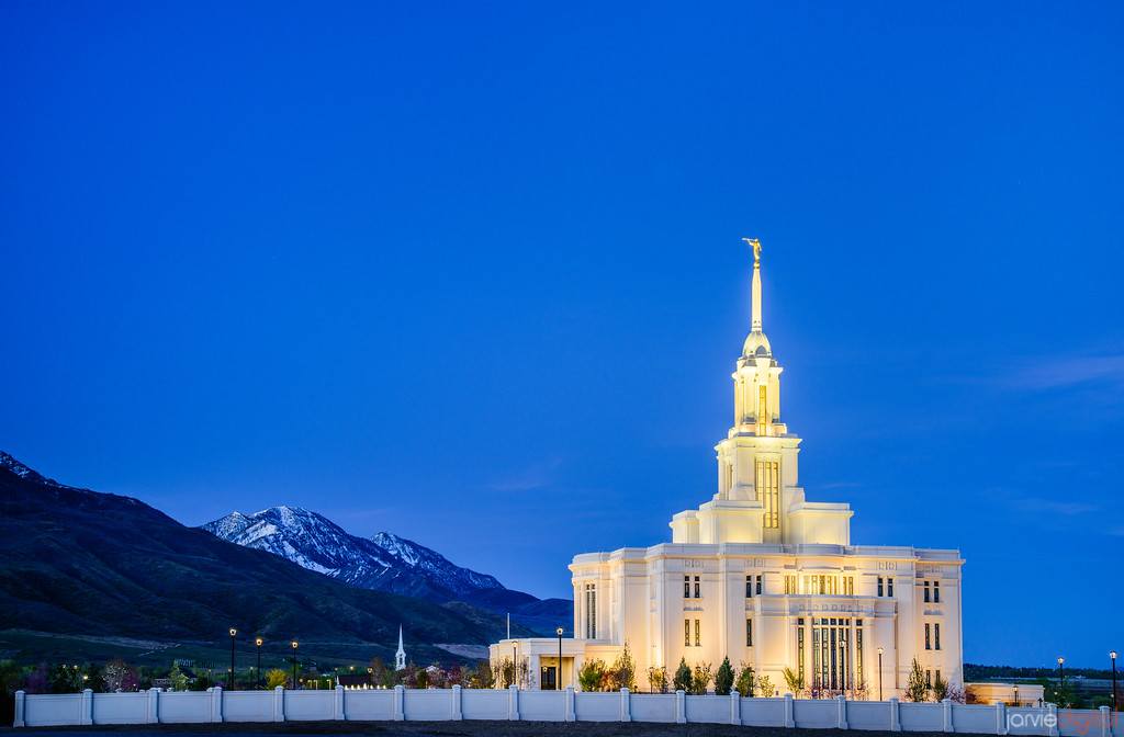 payson temple twilight and mountain