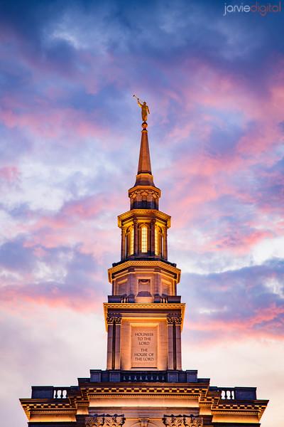 Philadephia Temple Sunset steeple