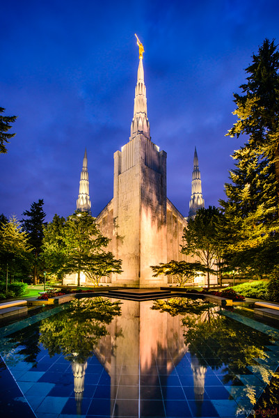 Portland Temple - Reflections in Blue