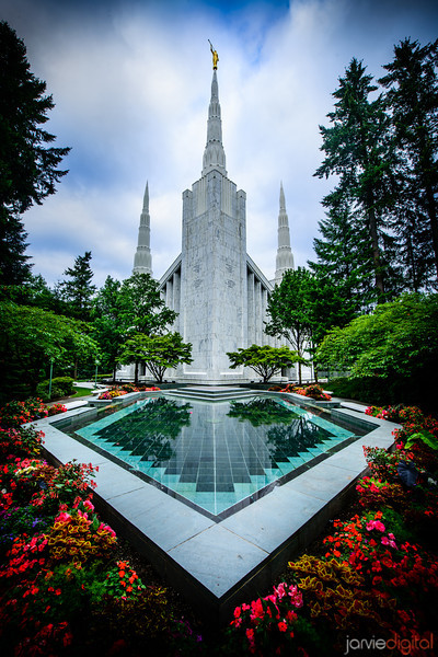 Portland Temple with Reflection Pool