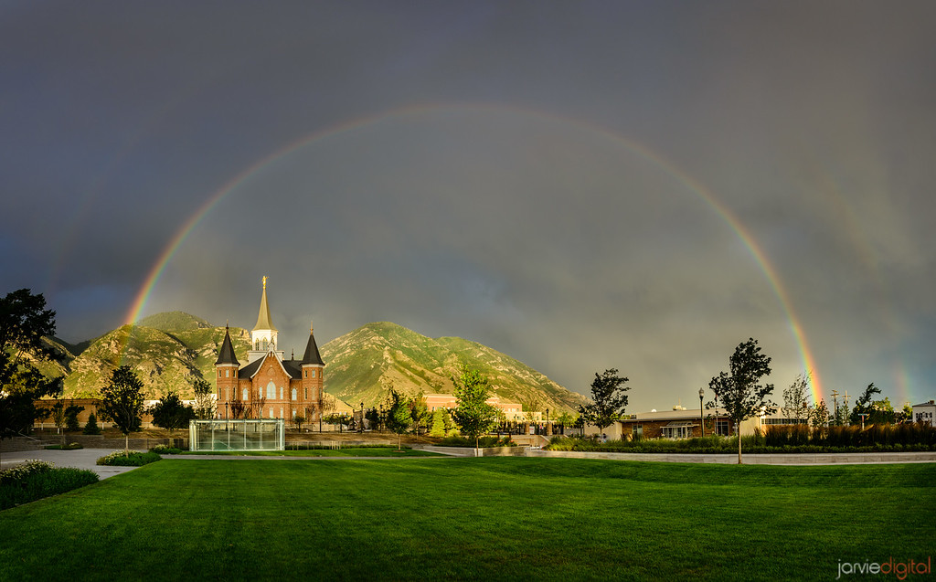 Full Rainbow over Provo City Center Temple