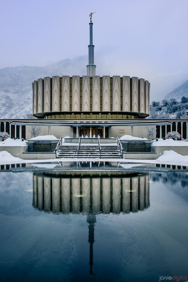Provo Temple Snowy Reflection