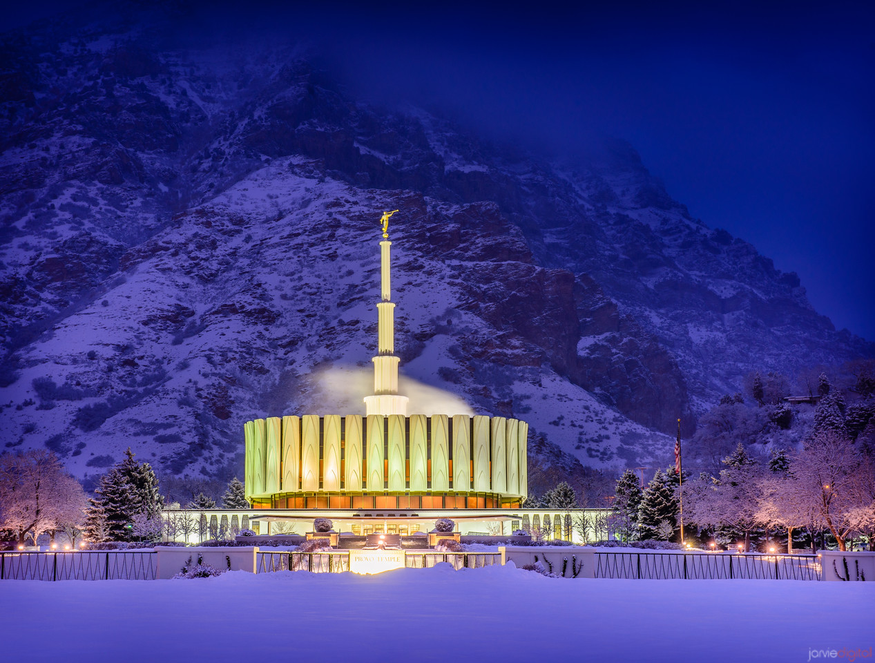 Provo Temple Winter Morning